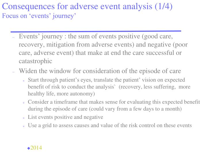 Consequences for adverse event analysis (1/4)