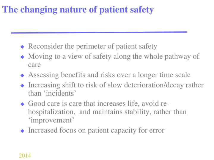 The changing nature of patient safety
