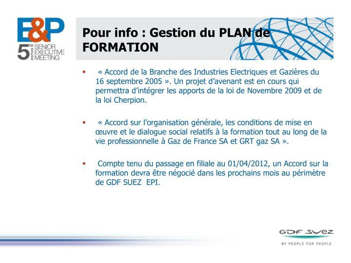 Pour info : Gestion du PLAN de FORMATION