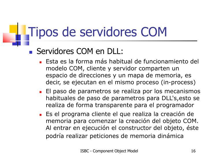 Tipos de servidores COM