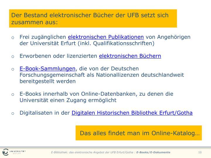 DerBestand elektronischer Bücher der UFB setzt sich zusammen aus: