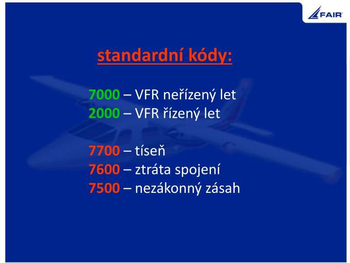 standardní kódy: