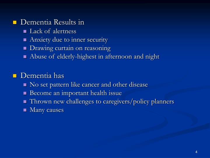 Dementia Results in