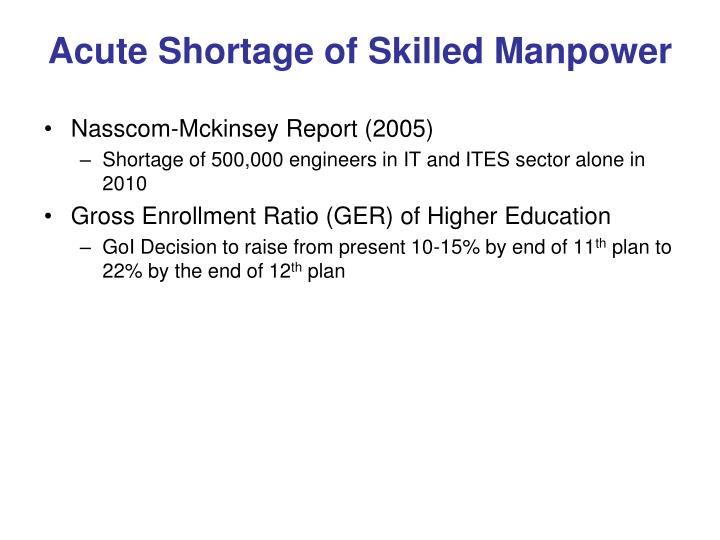 Acute Shortage of Skilled Manpower