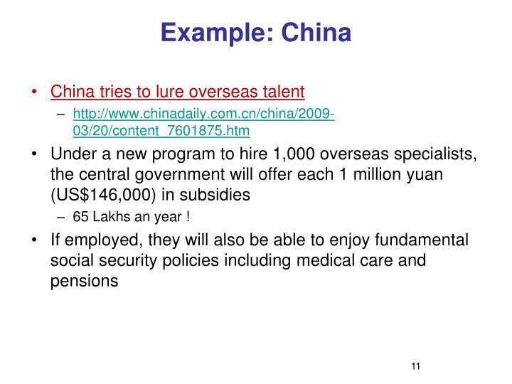 Example: China
