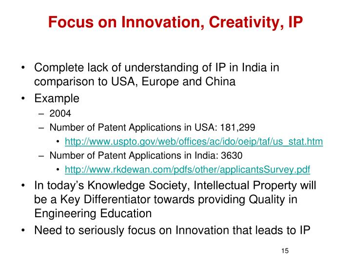 Focus on Innovation, Creativity, IP