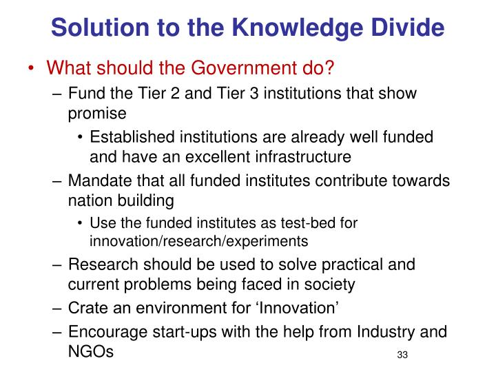 Solution to the Knowledge Divide