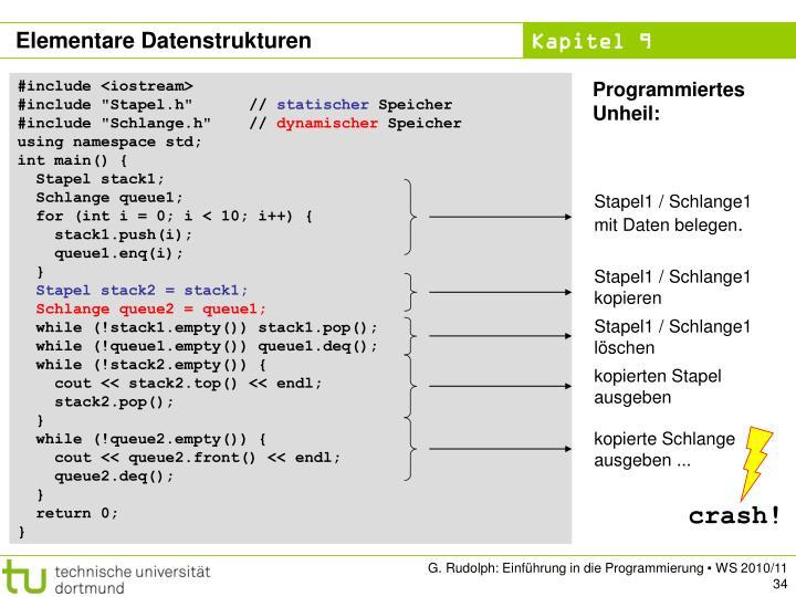 Stapel1 / Schlange1 mit Daten belegen