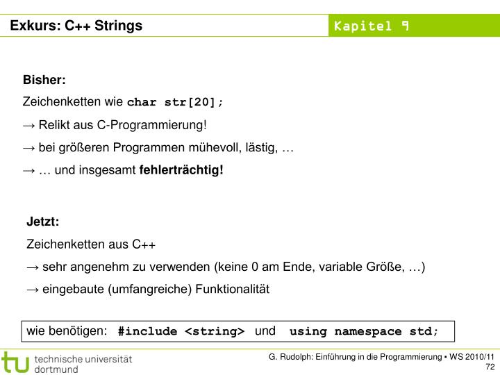 Exkurs: C++ Strings