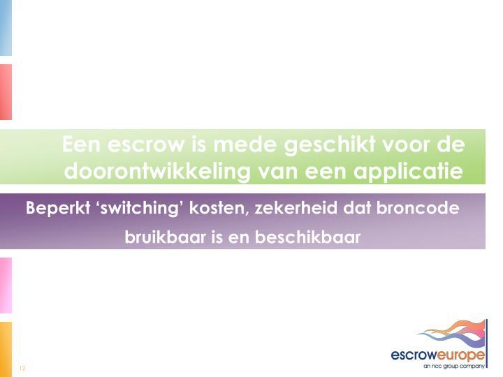 Een escrow is mede geschikt voor de doorontwikkeling van een applicatie