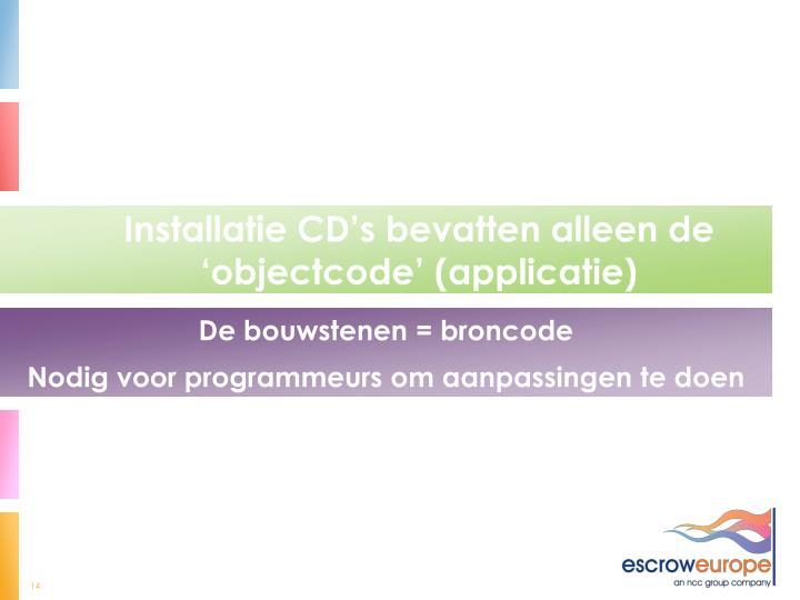 Installatie CD's bevatten alleen de 'objectcode' (applicatie)