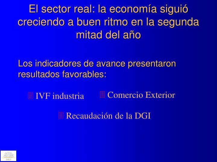 El sector real: la economía siguió creciendo a buen ritmo en la segunda mitad del año