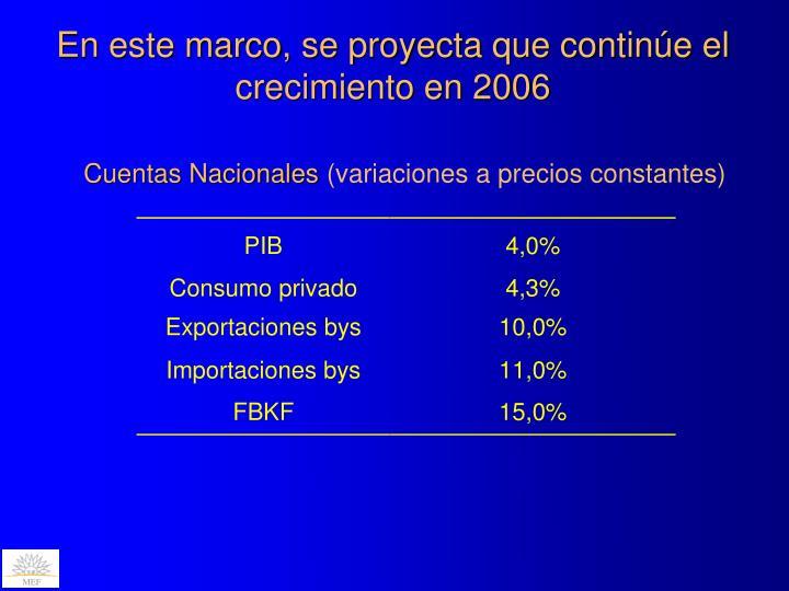 En este marco, se proyecta que continúe el crecimiento en 2006