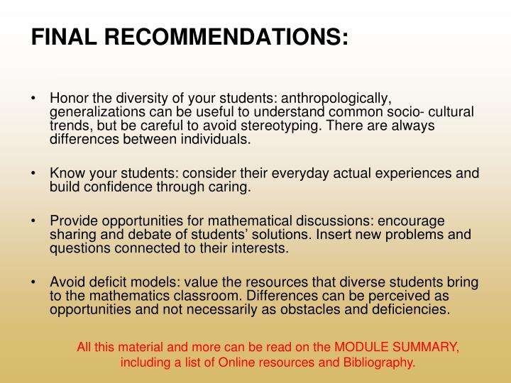 FINAL RECOMMENDATIONS: