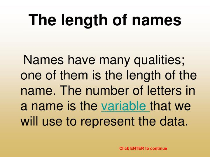 The length of names