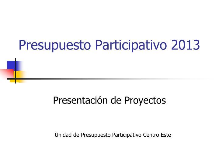 Presupuesto Participativo 2013