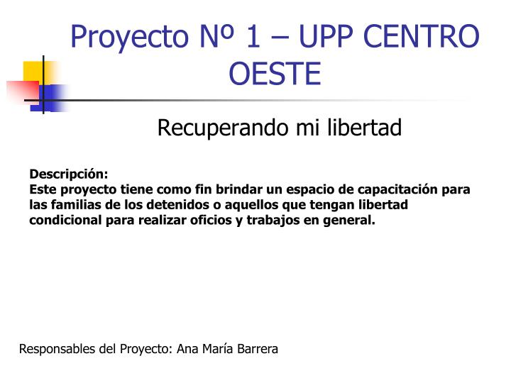 Proyecto Nº 1 – UPP CENTRO OESTE