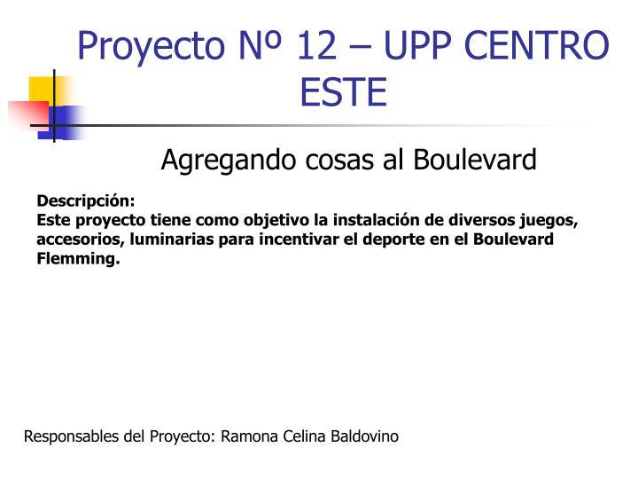 Proyecto Nº 12 – UPP CENTRO ESTE