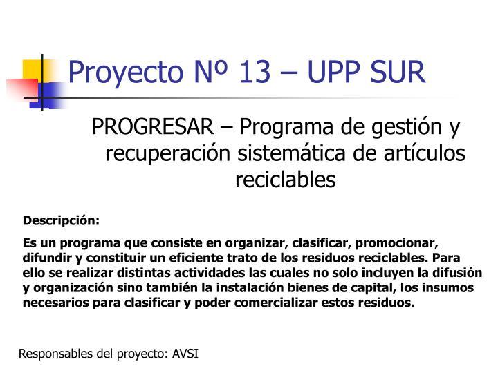 Proyecto Nº 13 – UPP SUR