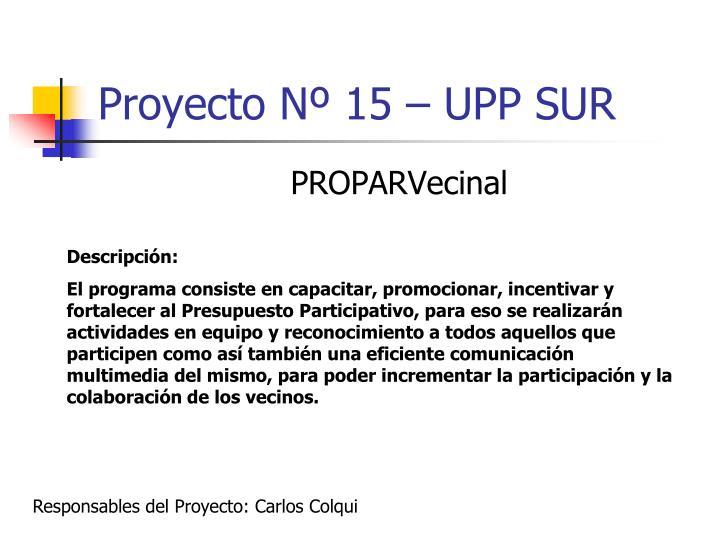 Proyecto Nº 15 – UPP SUR
