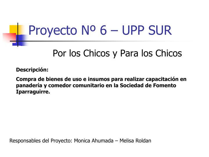Proyecto Nº 6 – UPP SUR