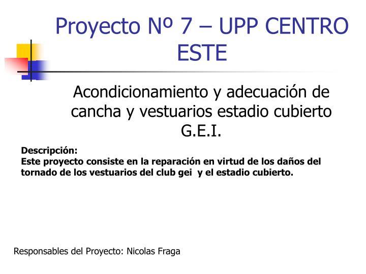 Proyecto Nº 7 – UPP CENTRO ESTE