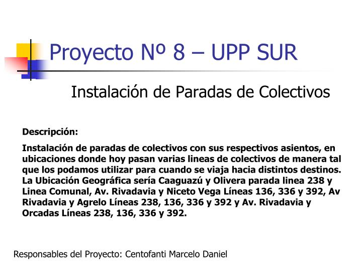Proyecto Nº 8 – UPP SUR