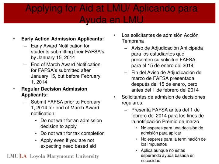 Applying for Aid at LMU/