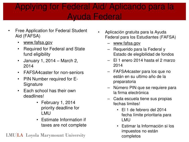Applying for Federal Aid/
