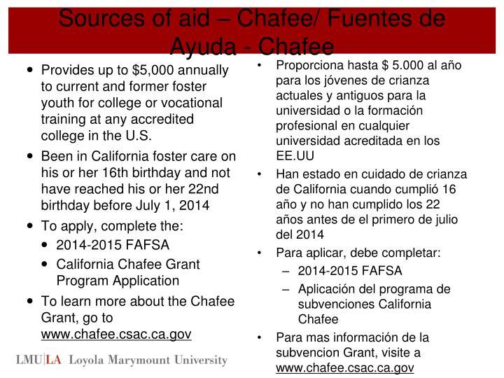 Sources of aid – Chafee/ Fuentes de
