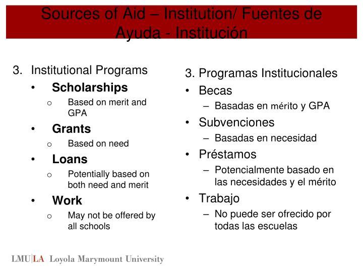 Sources of Aid – Institution/ Fuentes de