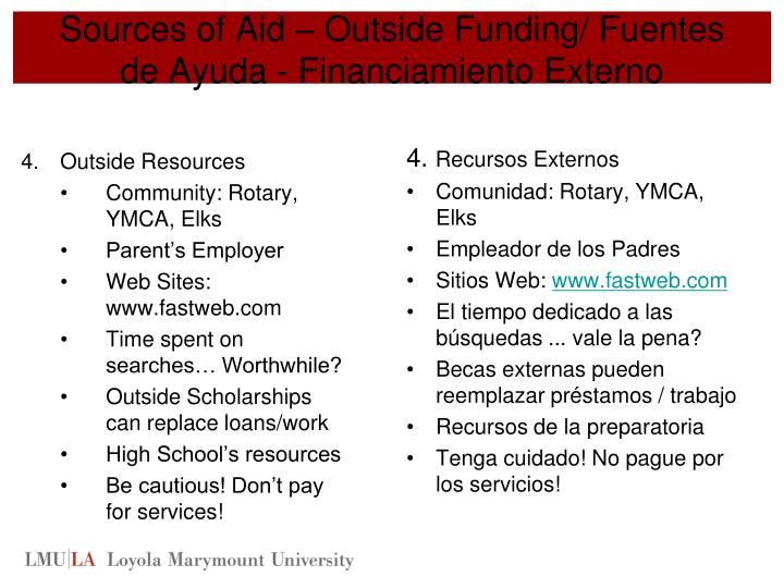 Sources of Aid – Outside Funding/ Fuentes de