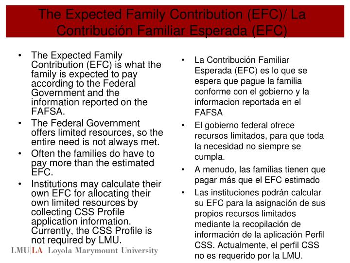 The Expected Family Contribution (EFC)/ La