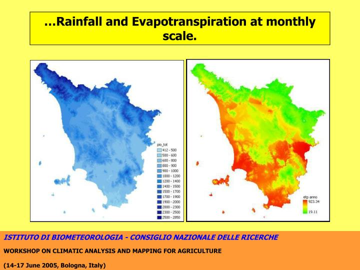 …Rainfall and Evapotranspiration at monthly scale.