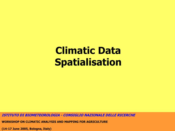 Climatic Data Spatialisation
