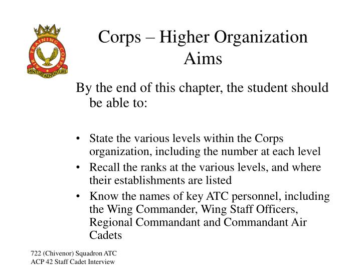 Corps higher organization aims
