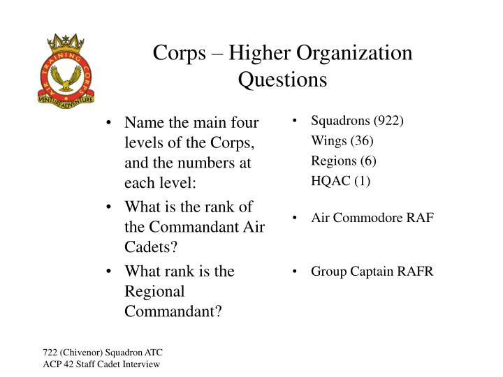 Name the main four levels of the Corps, and the numbers at each level: