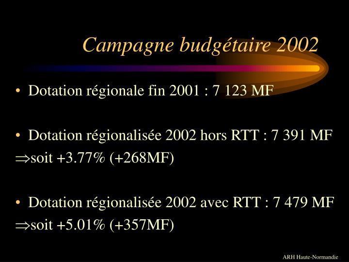 Campagne budgétaire 2002