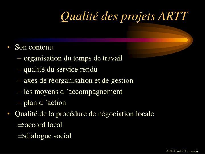 Qualité des projets ARTT