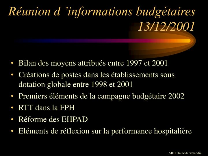 R union d informations budg taires 13 12 2001