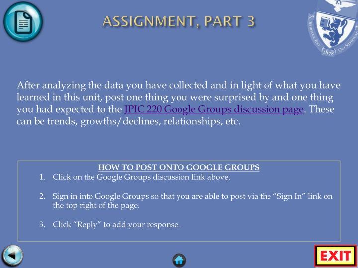ASSIGNMENT, PART 3