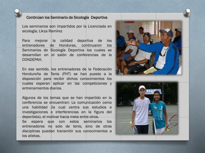 Continúan los Seminario de Sicología  Deportiva