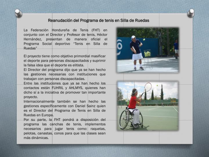 Reanudación del Programa de tenis en Silla de Ruedas