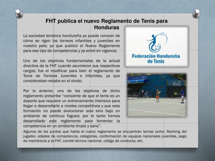 FHT publica el nuevo Reglamento de Tenis para Honduras