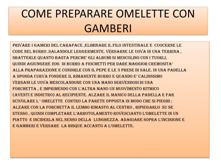 COME PREPARARE OMELETTE CON GAMBERI