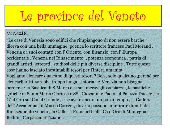 Le province del Veneto