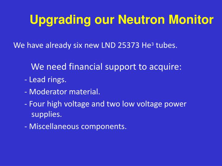 Upgrading our Neutron Monitor