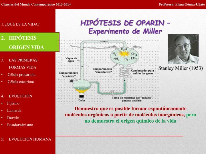 HIPÓTESIS DE OPARIN –  Experimento de Miller