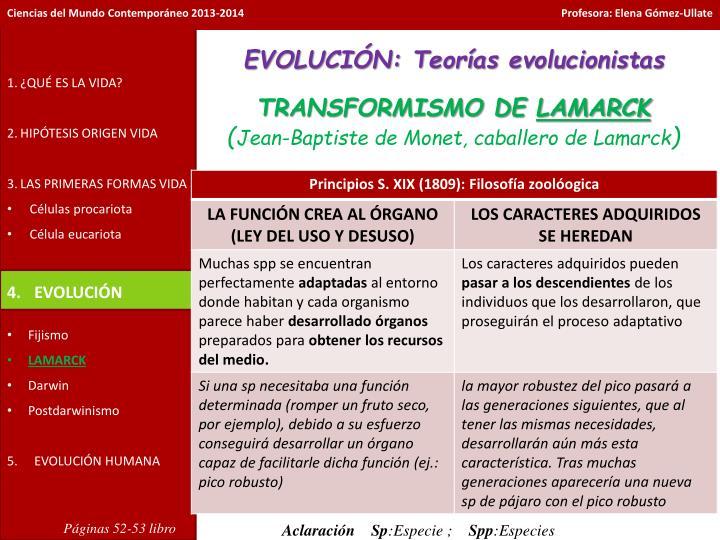 EVOLUCIÓN: Teorías evolucionistas