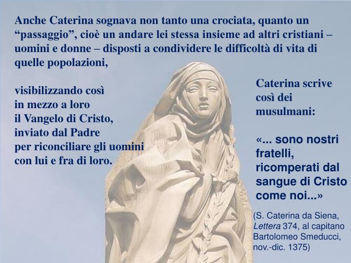 """Anche Caterina sognava non tanto una crociata, quanto un """"passaggio"""", cioè un andare lei stessa insieme ad altri cristiani – uomini e donne – disposti a condividere le difficoltà di vita di quelle popolazioni,"""
